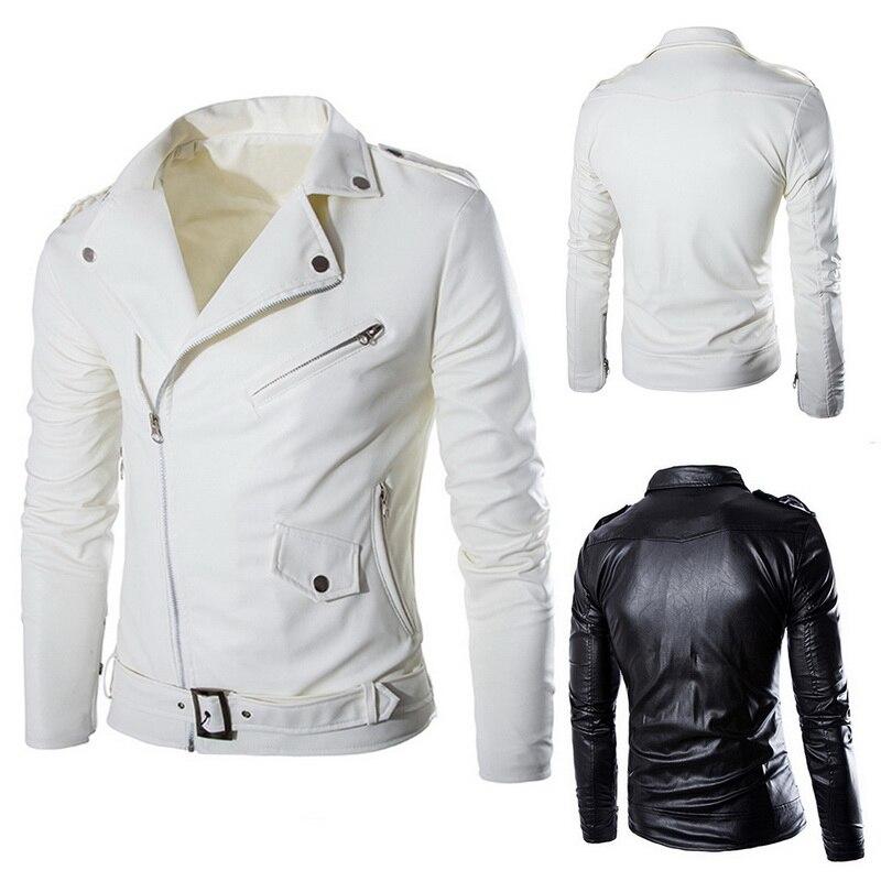 HEFLASHOR  Autumn Men Fashion Motorcycle Leather Jacket slim fit Coats Male Casaco Masculino Casual Zipper Black jacket