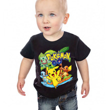 fashion black color short sleeve O neck Character print POKEMON GO conton boys T shirt T3876