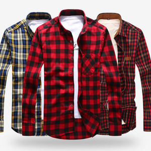 Мужская Фланелевая рубашка Camisa, модная рубашка в клетку с длинными рукавами и отложным воротником, мягкие удобные топы для осени и весны, ли...