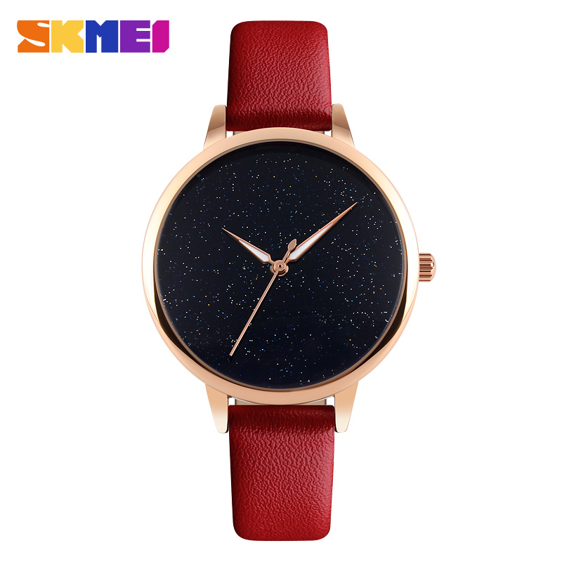SKMEI Brand Fashion Women Quartz-Watches Stars Dial Simple Girls Lady Watch Waterproof Ladies Wristwatch Relogio Feminino Clock skone fashion simple watches for women lady quartz wristwatch stainless steel band watch for woman relogio femininos