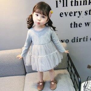 Image 5 - Trajes de primavera para niñas, Moda Infantil, vestido inferior + chaqueta vaquera, 2 uds. De ropa, vestido de malla, conjuntos de ropa, 2019