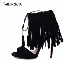 Faux Suede Black Tassels Woman Sandals Open Toe High Heel Fashion Brand Handmade Quality Party Ankle Strap Shoes 2019
