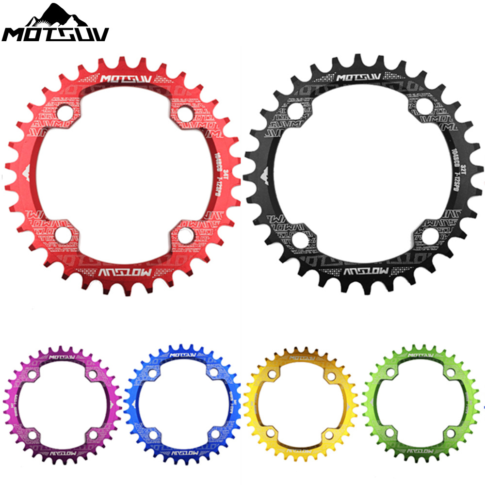 Bicycle Crank 104BCD Round Shape Narrow Wide 32T/34T/36T/38T MTB Chainrings Bicycle Chainwheel Bike Circle Crankset Single Plate