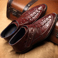 Calidad superior de Los Hombres Botas de Invierno Del Tobillo Del Cuero Genuino Botas Calientes Martin Dedo Del Pie Acentuado Zapatos de Madera Zapatos de Cuero Zapatillas Hombre