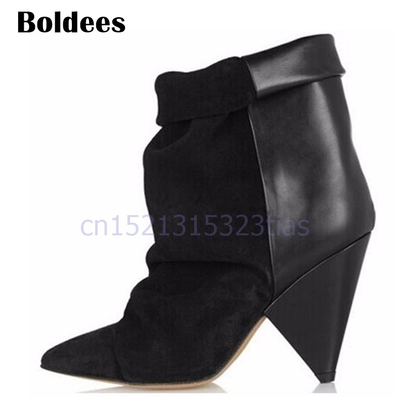 2018 Genuine Leather Ankle Boots Women Pointed Toe Short Booties Spike High Heeled Boot Pumps Autumn Winter Wedge Shoes women s genuine suede leather hemp wedge platform slip on autumn ankle boots brand designer leisure high heeled shoes for women