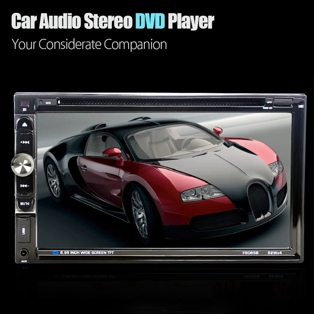 6.95 Inch 2 Din Car Audio Stereo DVD Player 1080P Touch Screen Video Player Bluetooth Hands-Free FM Function with Remote Control car mp5 player with rearview camera gps navigation 7 inch touch screen bluetooth audio stereo fm function remote control