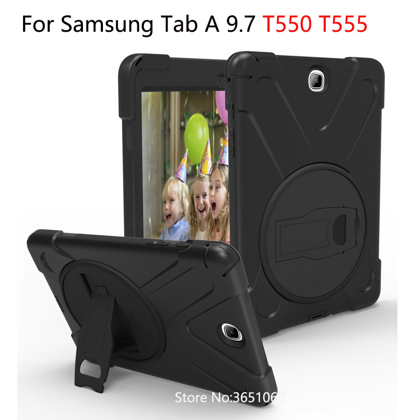 Heavy Duty Case For Samsung Galaxy Tab A 9.7 SM-T550 T550 Cover Funda Tablet Kids Safe Shockproof Silicone Hard Stand Shell