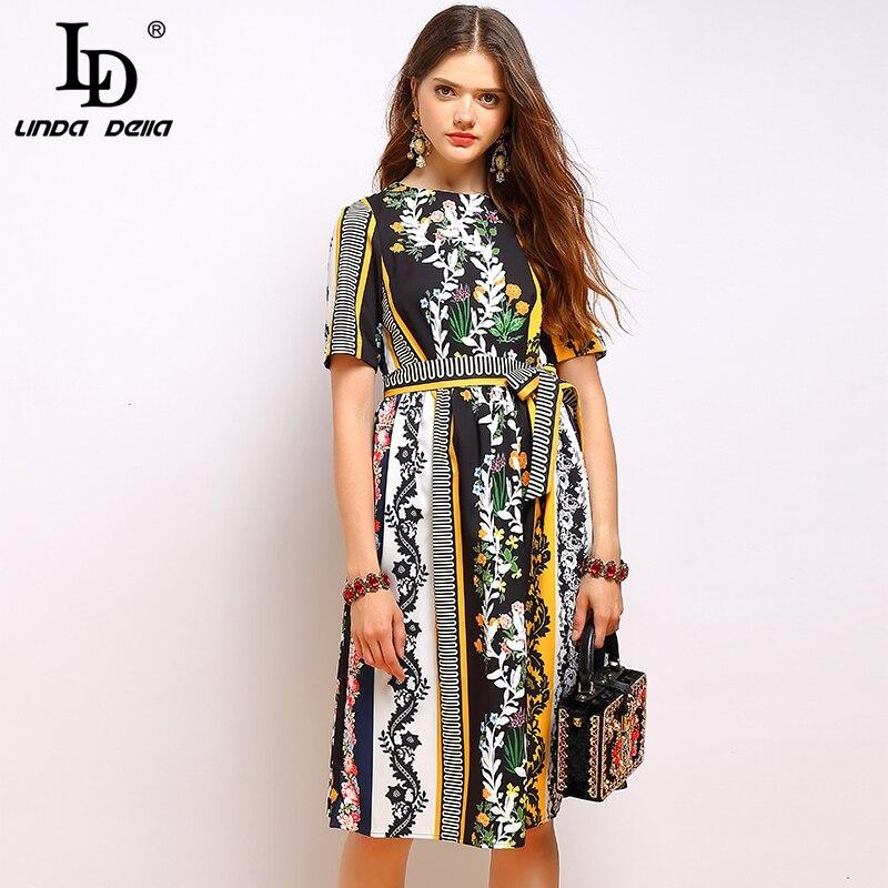 LD LINDA DELLA mode d'été robe Vintage femmes à manches courtes noeud papillon drapé Floral imprimé élégant dames vacances robes-in Robes from Mode Femme et Accessoires    1