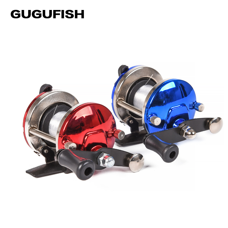 GUGUFISH Mini Metal Bait Casting Spinning Boat Ice Fishing Reel Fish Water Wheel Baitcast Roller Coil With 50M Coil