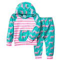 Children Stripe Clothes Sets Kid Animal Sleepwear Boy&Girl Long Sleeve Hooded Sport Suits Fashion Costume Baby Nightwear Outfits