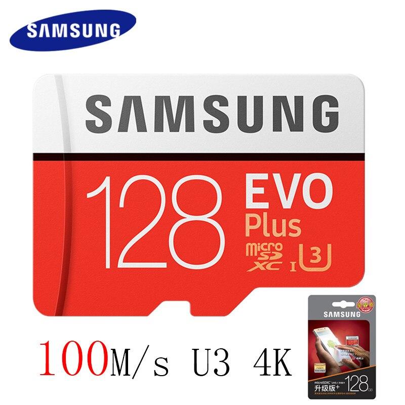 Samsung Micro SD карты 100 МБ/с. 16 ГБ 32 ГБ 64 ГБ 128 ГБ 256 ГБ карты памяти Class10 U3 флэш-памяти MicroSD карты для смартфона