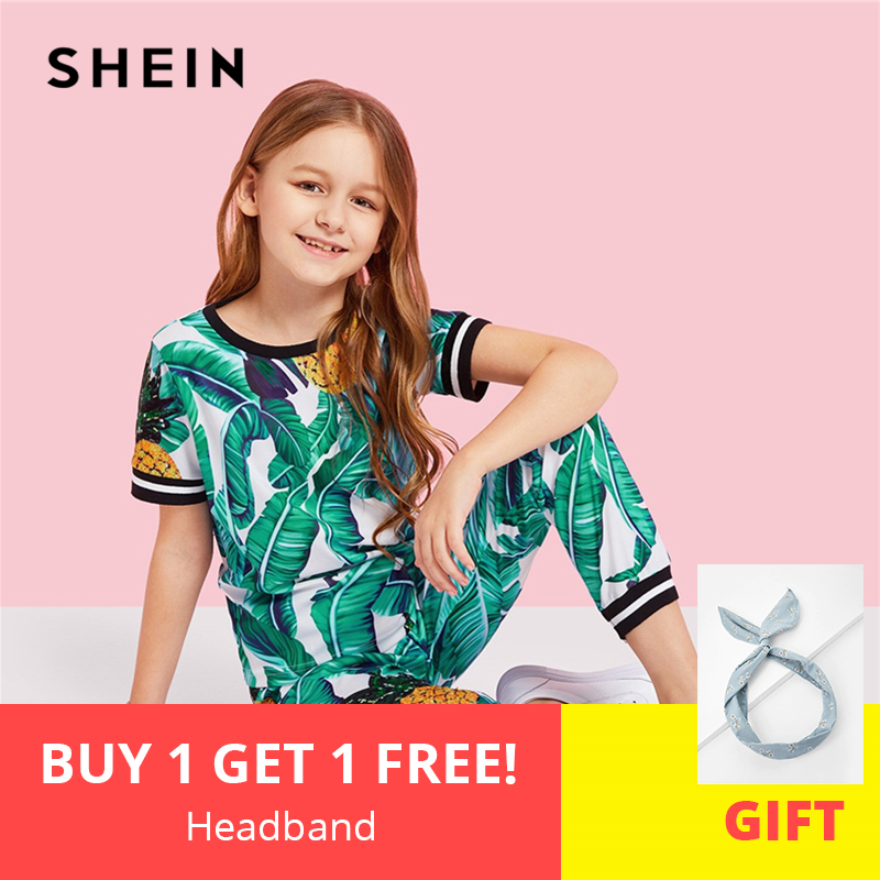 SHEIN Kiddie Girls Jungle Leaf Print Top And Pants Casual Set Kids Clothing Sets 2019 Summer Korean Short Sleeve Beach Suit Sets toddler baby girls clothing sets cartoon cat print summer newborn baby girl clothes dot baby girls dress long pants kids sets