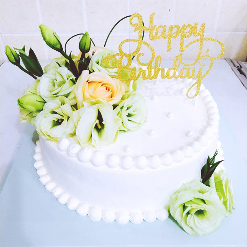 Wondrous 1Pc Fashion Gold Silver Blue Rose Cake Topper Happy Birthday Cake Birthday Cards Printable Nowaargucafe Filternl