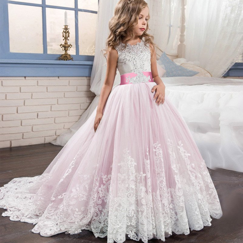 Girl Clothes Elegant Wedding Dress White First Holy Communion Formal  Lace Princess Party Prom Evening Dress For Girl 3-14yrs