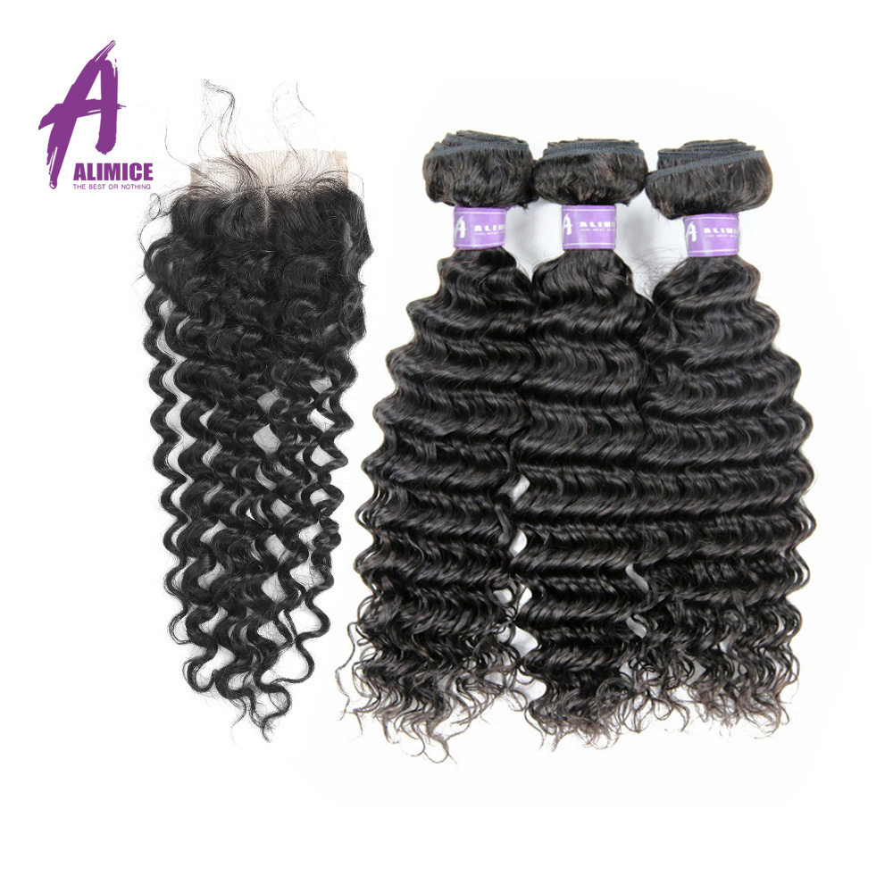 Indian Deep Wave Hair Human Hair Weave 3 Bundles Hair Weft With Closure 100% Non Remy Hair Natural Color Alimice Hair Extensions