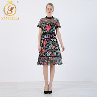 New Fashion 2019 High quality luxury Runway Dress Women short sleeves summer clothes for women dress Mesh embroidery vestidos