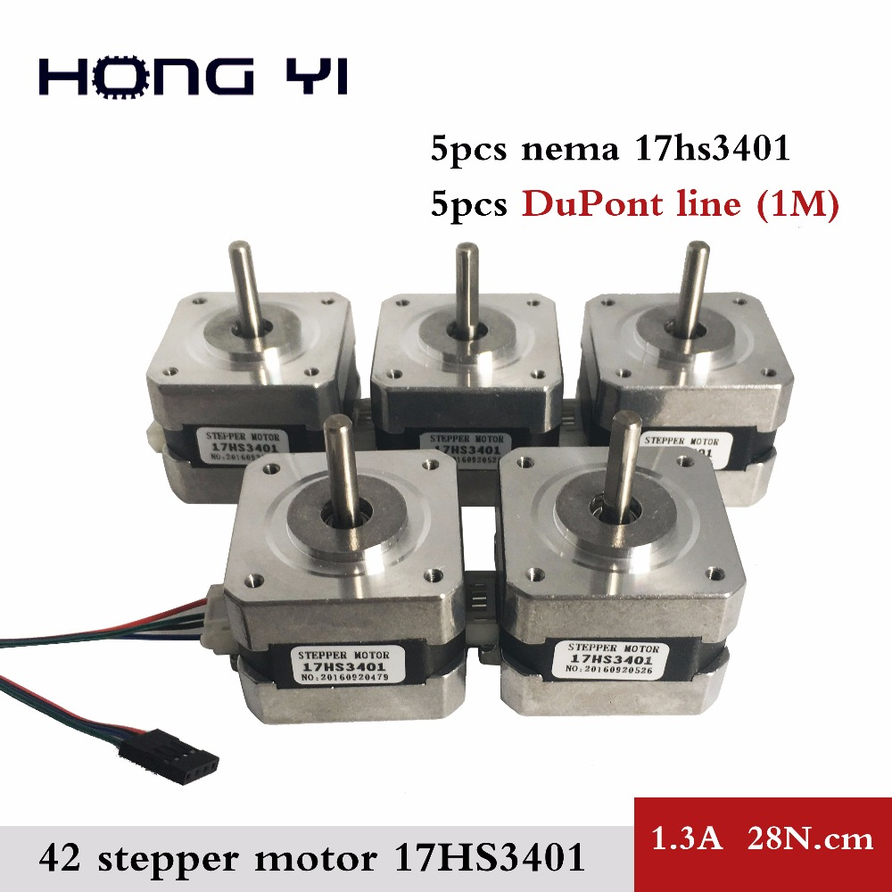 free shipping for 3D printer 5pcs 17HS3401 4-lead Nema17 Stepper Motor 42 motor 42BYGH 1.3A CE ROSH ISO CNC with DuPont line flsun 3d printer big pulley kossel 3d printer with one roll filament sd card fast shipping