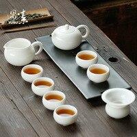 Dehua white porcelain Kung Fu tea set China white jade porcelain home office complete set of simple ceramic teapot tea cups