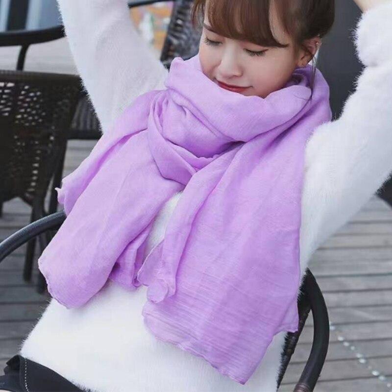 Хлопковый шарф светло-фиолетового цвета для женщин, мягкие льняные осенне-зимние шарфы, модный длинный женский шарф синего/черного/желтого/...