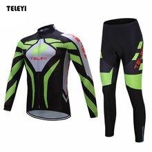 TELEYI Men's Team Cycling Ropa Ciclismo Outdoor Long Sleeve Jersey (BIB) Pants Set Bike Bicycle Sportswear Clothing S-4XL