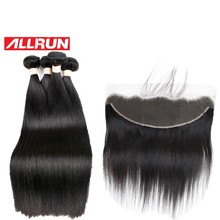 Allrun Malaysian Hair Products 4 Pc Straight Human Hair Bundles With 13*4 Lace Frontal Natural Color Non Remy Hair Weave