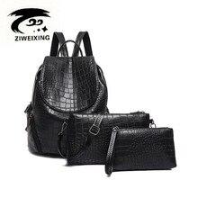ZIWEIXING 2017 Mode Schwarz Alligator Rucksack Frauen Pu-leder Rucksäcke Für Teenager Schultaschen Weibliche Rucksack 3 Set der