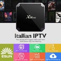 Android Италия IP ТВ коробка x96 мини-Европа IP ТВ 10000 + Италия VOD 2g16g Android 7.1 ТВ box media плеер телеприставке V88 французский IP ТВ
