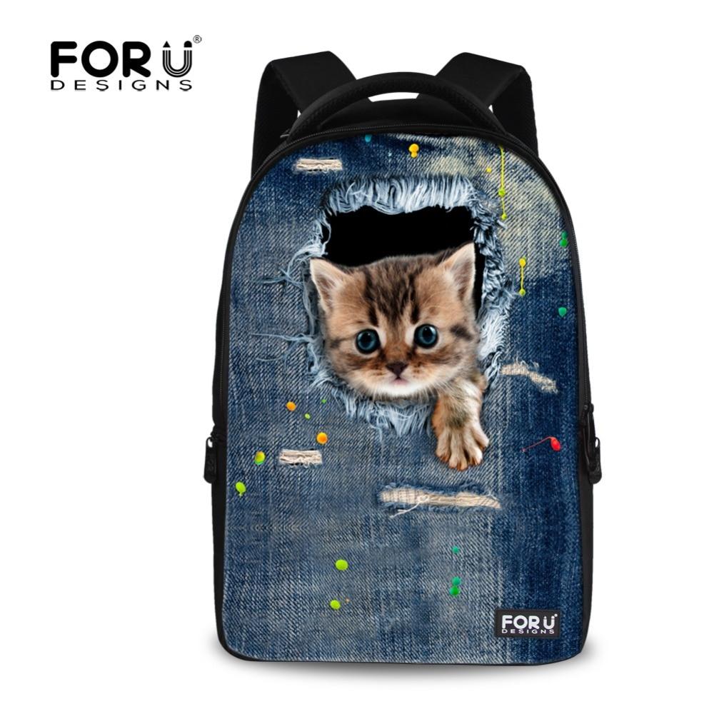 ФОТО Fashion 3D Denim Printed Cat School Bag For Men's Travel Schoolbag Student Boy Laptop Bag Casual Schoolbag School Mochila