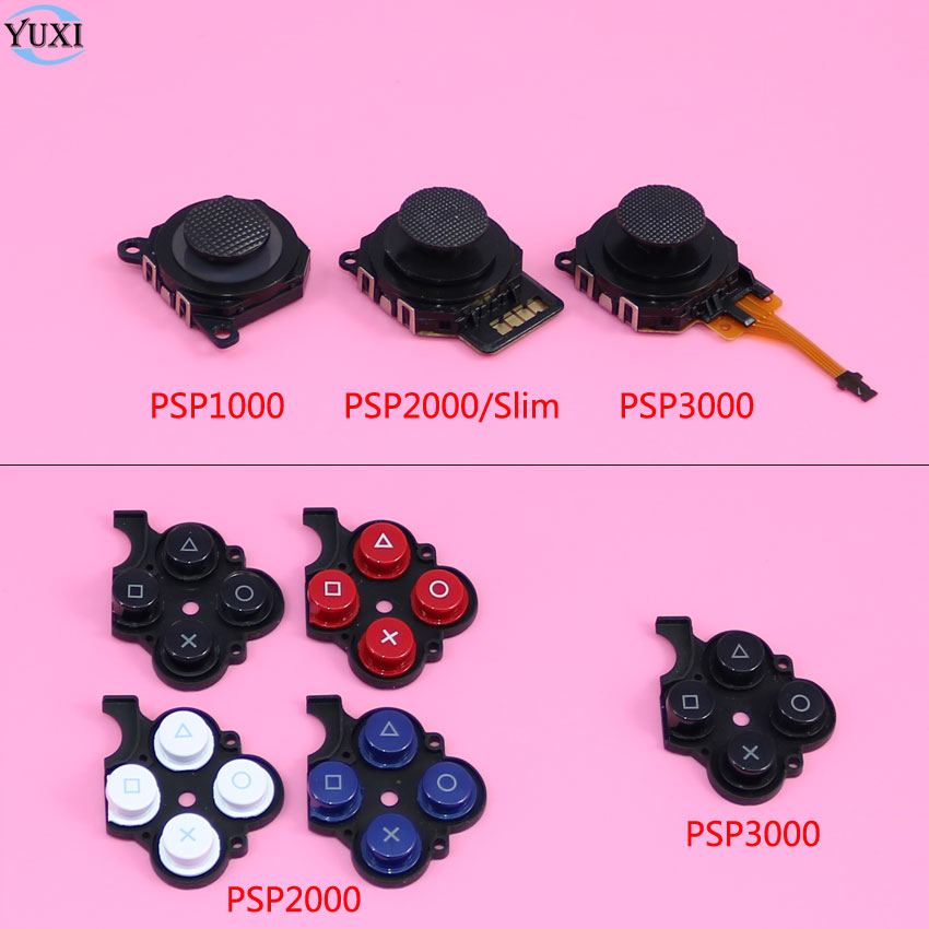 YuXi 3D Analog Joystick Stick Button Sensor Module + Conductive Right Button Plastic Pad For Sony PSP 1000 2000 Slim 3000