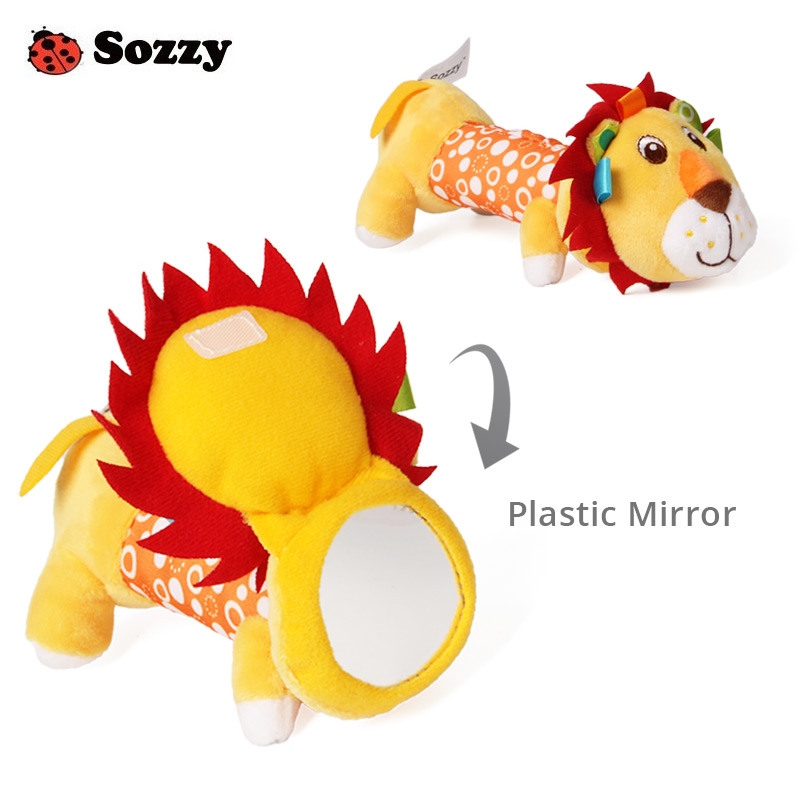 Sozzy Lovely Plush Stuffed Animal Rattle Squeaky Sticks Baby Toys Hand Bells Plastic Safe Mirror 6 Styles For Newborn Gift Puppy