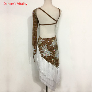 Image 2 - Sexy Single sleeve Latin Dance Performance Clothes Embroidery Diamonds Dress Women Childrens Latin Dance Competition Costumes