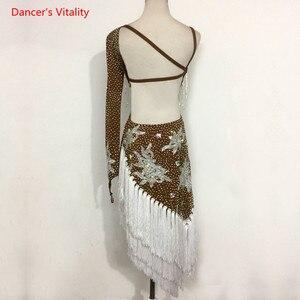 Image 2 - Sexy única manga latina dança desempenho roupas bordados diamantes vestido feminino crianças latina dança trajes competição