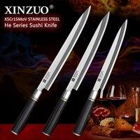 XINZUO 240/270/300mm ryby fileting nóż japoński X5Cr15MoV ze stali nierdzewnej Pro Sushi Sashimi łosoś kuchenny nóż hebanowy uchwyt w Noże kuchenne od Dom i ogród na