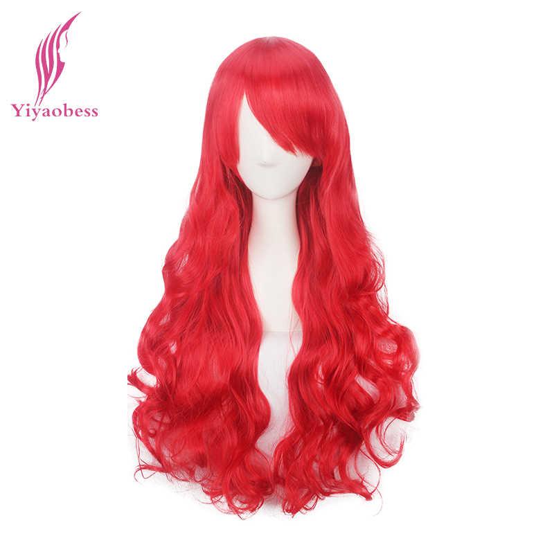 Yiyaobess 80cm syntetyczne długie faliste czerwony fioletowy różowy czarny pomarańczowy żółty zielony kasztanowy biały blond szary niebieski peruka do cosplay Bangs