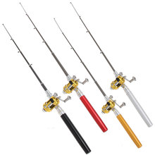 115g Mini Portable Pocket Fishing Rod Pen Aluminum Alloy Fishing Rod Pole Reels Combos 4 Colors Drop Shipping Wholesale