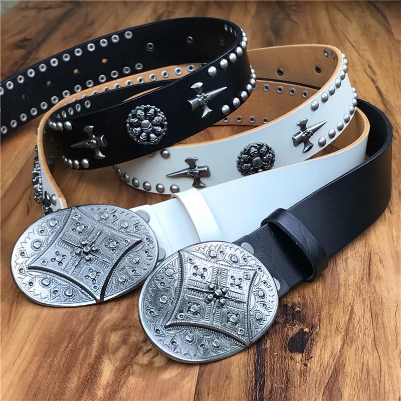 Vintage Metal Rivet Leather Belt Men Cowboy Jeans Punk Belt Male Strap Ceinture Homme White Belt
