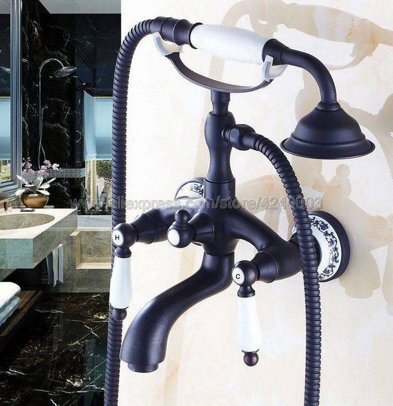 Black Oil Rubbed Bronze Wall Mount Bathtub Bathroom Faucet Telephone Style Mixer Faucet Tap with Dual Handle Handshower Ktf532 new oil rubbed bronze wall mount bathroom kitchen faucet mier tap dual handle