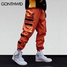 GONTHWID mężczyźni Side kieszenie Cargo harem spodnie 2018 hip hop casual mężczyzna Tatical joggers spodnie moda casual Streetwear spodnie tanie tanio Pełna długość Elastyczna talia Połowie Sukno Płaskie Spodnie harem Poliester Midweight Regularne Z GONTHWID 18SS210331668687