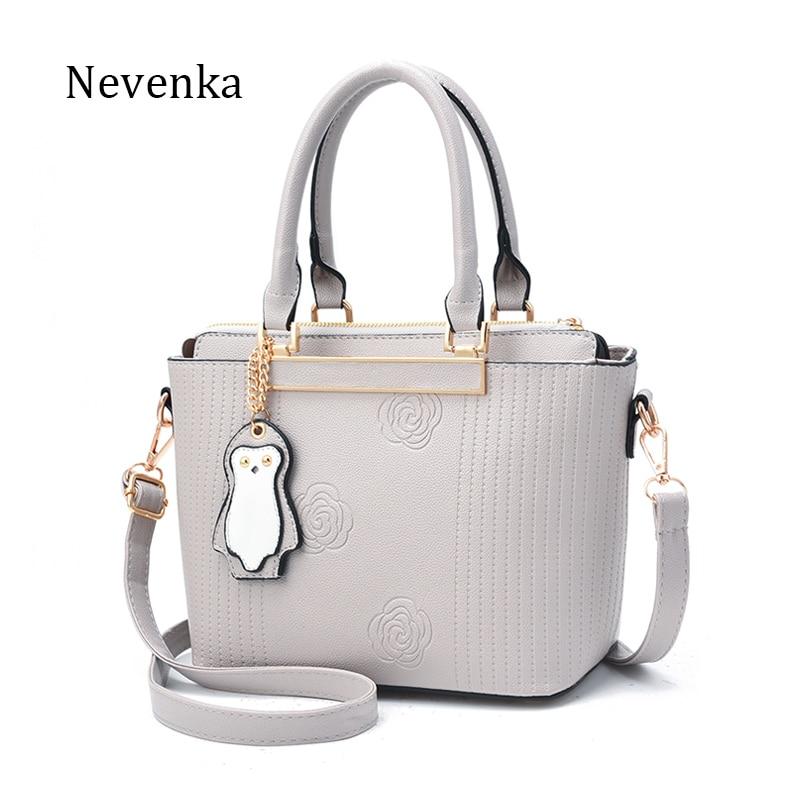 Nevenka Brand Fashion Women Pu Leather Shoulder Bags Female Floral Handbag Embroidery Hobos Bag 2017 Red/Purple/Pink/Gray/Black