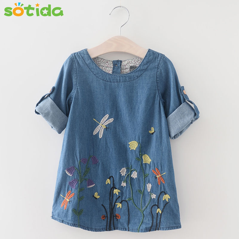 Fashion Baby Girls Denim Dress 2016 Children Clothing Autumn Casual Style Girls clothes Butterfly Embroidery Dress Kids Clothes