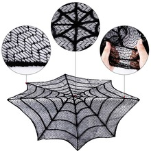 OurWarm Halloween Lace Spider Web Fireplace Round Spider Web Tabletopper Themed Party Decoration Black Table Topper ourwarm 1pc halloween table cloth party table decoration spider web lace design rectangle tablecloth with ghost party decoration