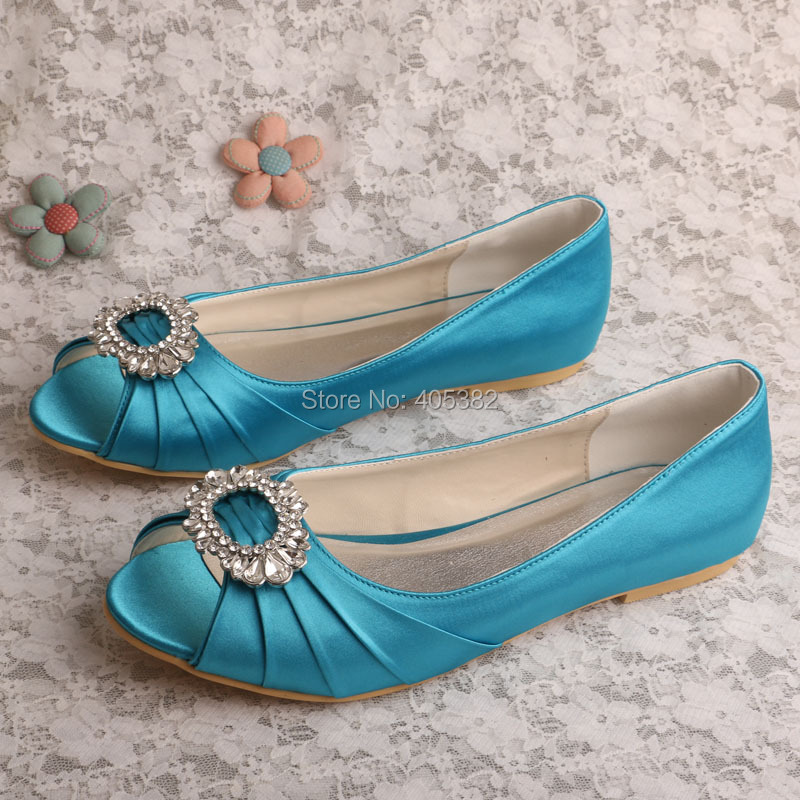 Wedopus MW552 Custom to Make Peep toe Flat Aqua Blue Bridal Shoes ...