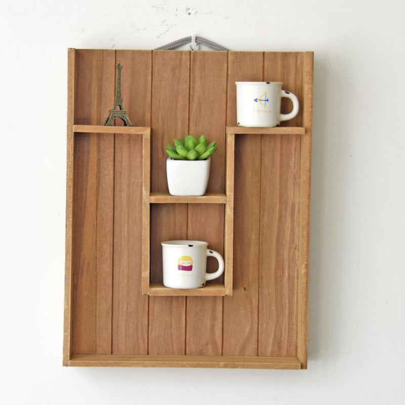 Home decoration wood display shelf wall holder kitchen box for Application box decoration