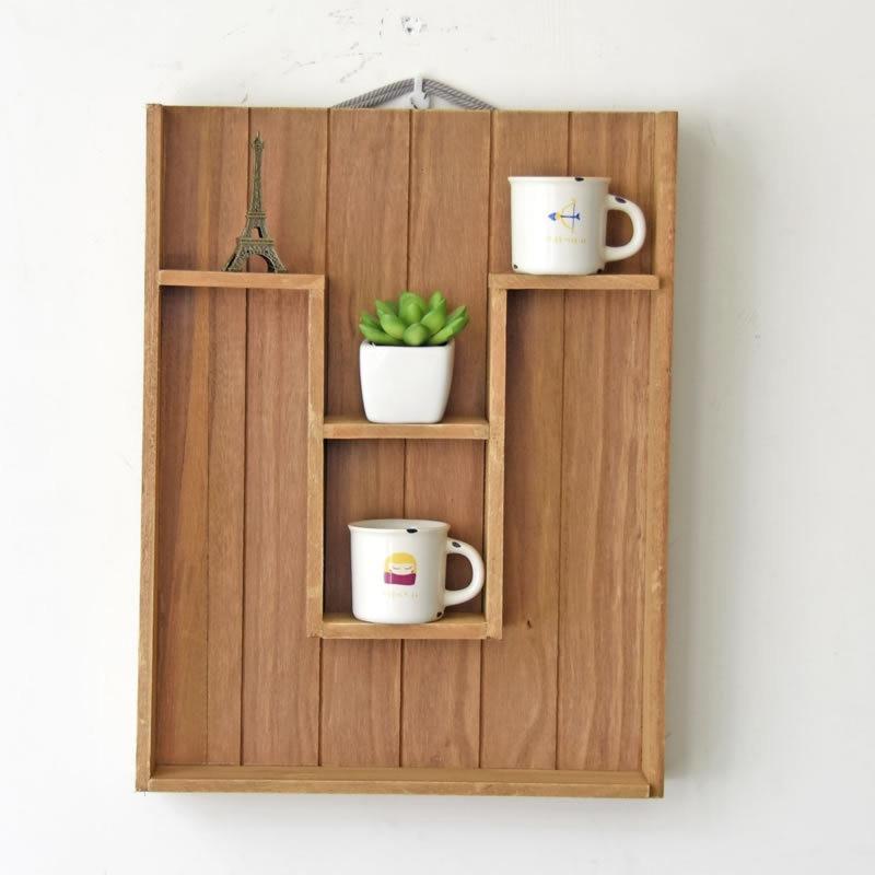 Home Decoration Wood Display Shelf Wall Holder Kitchen Box Washroom Tray  Door Rack Sundries Gadgets Wooden