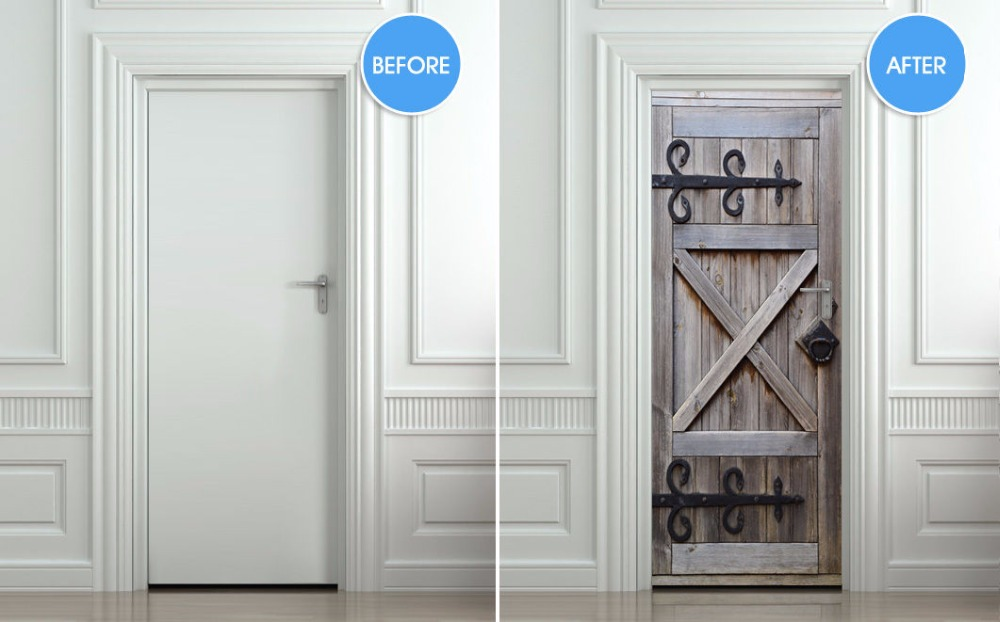 Diy Wall Sticker Mural Bedroom Home Decor Poster Barndoors Stall Country Door Wrap Removable Decole 77 200cm In Stickers From