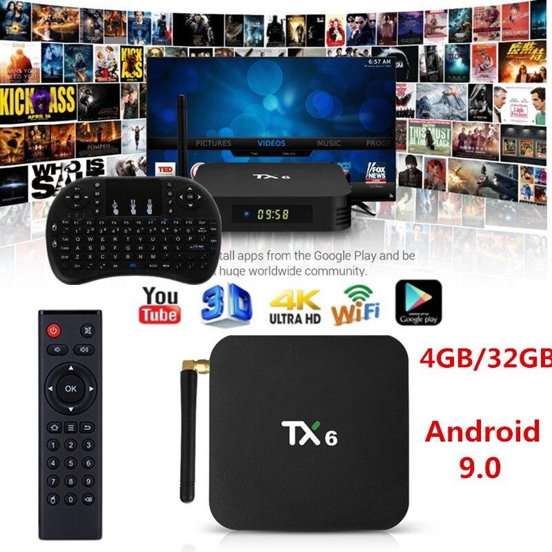 TX6 Smart Android 9.0 TV BOX 4G 32G BT 4.1 prend en charge le double Wifi 2.4G/5 GHz Youtube H.265 décodeur lecteur multimédia
