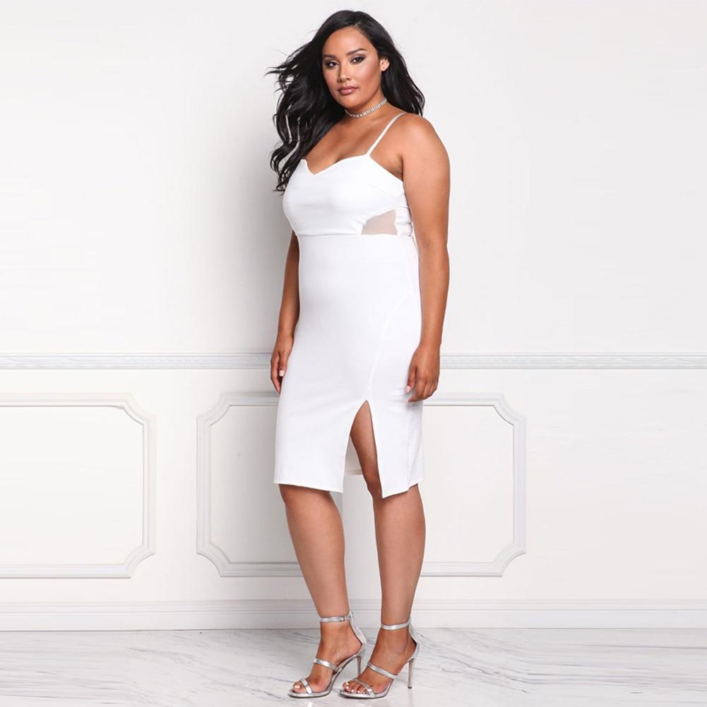 Plus Größe Frauen Bodycon Kleid Spaghetti Strap Sexy Backless Mesh ...