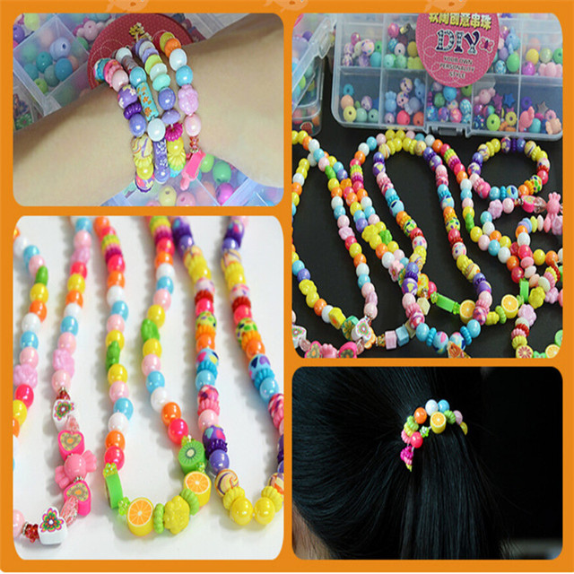Hot sale 2016 DIY loose beads beaded suit woven bracelet colorful clay beads children's educational toys boxed