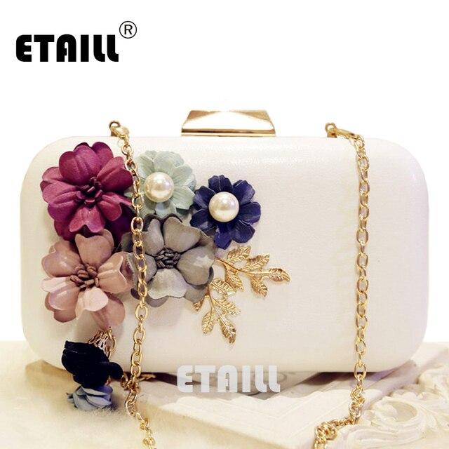 ef74b98abc9 Etaill hecho a mano Telas flores bolso de lujo novia de la boda bolso de  embrague