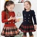 2015 New baby wear spring autumn plaid full sleeve children kid school campus princess cotton dress wear Free Free